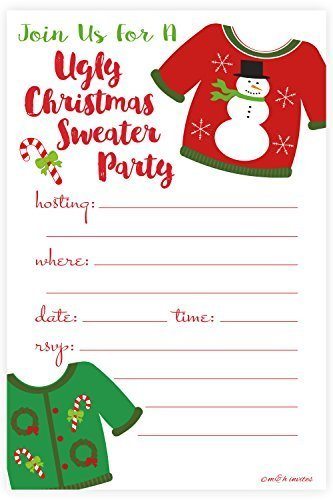 Ugly Christmas Sweater Party Invitations - Fill In Style (20 Count) With Envelopes by m&h invites