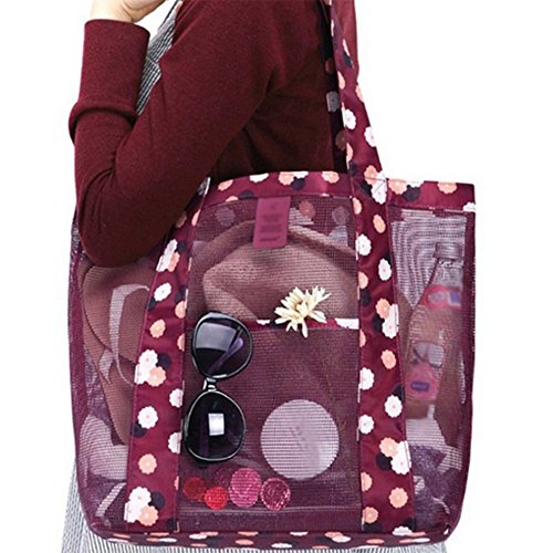 Large Beach Organizer 7'' 77''x13 Lightweight for Women Shoulder Mesh 13 Youkara Bag Red Tote Bag 77''x4 51wYq
