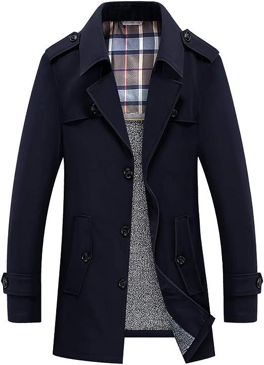 ONEU メンズ トレンチコート メンズ コート 長袖 メンズジャケット 秋冬 ジャケット ボタン 綿 服 メンズ スタイリッシュ シンプル カジュアル ビジネス コート
