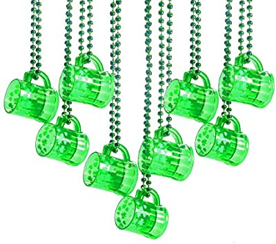 St. Patrick's Day Plastic Beads Necklaces Traveling Shot Glasses – Bulk Pack of 12 – Green Shamrock Party Favors Supplies, Mardi Gras Party By 4E's Novelty
