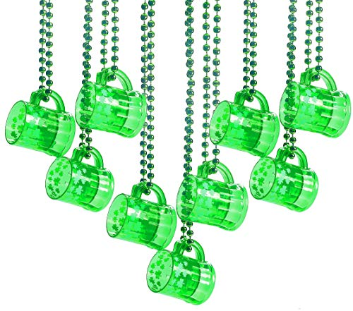 St. Patrick's Day Plastic Beads Necklaces Traveling Shot Glasses - Bulk Pack of 12 - Green Shamrock Party Favors Supplies, Mardi Gras Party By 4E's Novelty