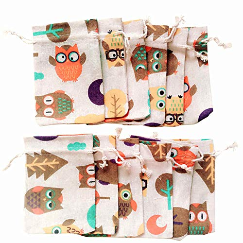 Owl Gift Bags (12Pcs Natural Burlap Gift Bag Animal Cotton Linen Party Candy Pouch Festival)
