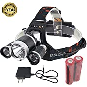 Amazon Lightning Deal 92% claimed: GYY Super Bright Headlamp Headlight Flashlight 4 Modes 3 CREE T6 LED Light Torches with 18650 Rechargeable Batteries and Charger