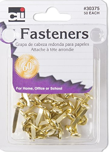Charles Leonard Round Head Brad Fasteners, 3/4 Inch Leg Length, Brass Plated Finish, Gold, 12 Packs of 50 Each (30375) ()