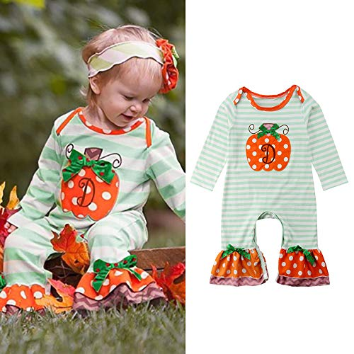 MOKO-PP Halloween Newborn Infant Baby Girl Boy Striped Dot Romper Jumpsuit Clothes(green,100) -