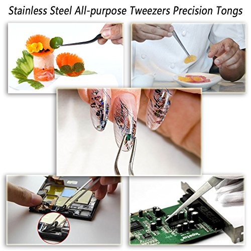 Teanfa Cooking Tweezers Precision Tongs,3 Pieces Stainless Steel Tweezers Precision Tongs for Cooking Culinary Medical Beauty(6.3-Inch)