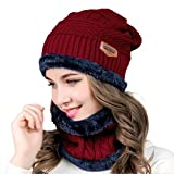 MUCO Womens Mens Winter Hat Warm Thick Beanie Cap Scarf for Winter Knit Ski Beanies Red