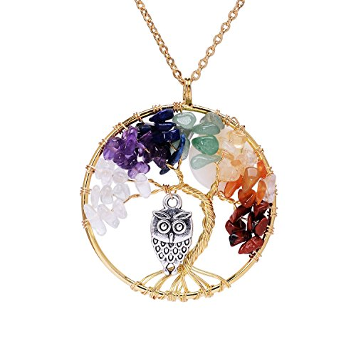 Gold Plated Family Tree of Life Birthstone Chakra Necklace for Women Root 7 Chakra Gemstones Tree of Life Pendant Rainbow Stone Necklace with Owl Full…