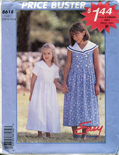(McCall's Easy Stitch 'n Save Pattern 8618 Girls' Dress with Sailor Collar,)