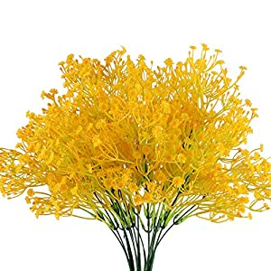 XYXCMOR Artificial Fake Plants 4pcs Gypsophila Flowers Bouquet Faux Shrubs Plastic Flowers for Farmhouse Indoor Outside Hanging Planter Cemetery Decor Yellow 11