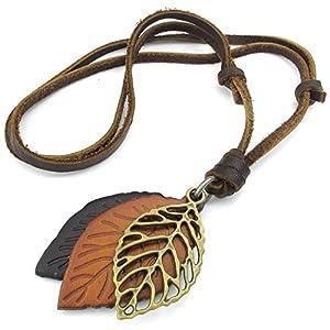 TOOGOO(R) Collar Collar de joyeria de Hombres Mujeres, Hoja, tamanos Ajustables Colgante de aleacion con Cadena de Cuero | DeHippies.com