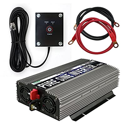 Power TechON 1500W Pure Sine Wave Power Inverter 12V DC to 120 V AC with 3 AC Outlets, 1 5V USB Port, 2 Battery Cables, and Remote Switch (3000W Peak) PS1005