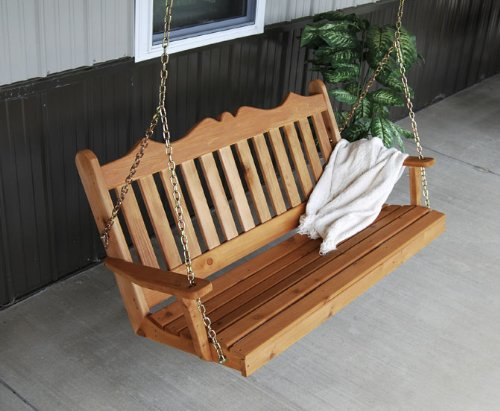 Outdoor 6 Foot Royal English Garden Porch SwingUnfinished Pine Amish Made USA