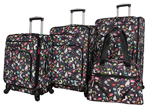 Lily Bloom Luggage Set 4 Piece Suitcase Collection With Spinner Wheels For Woman (Sushi Black)
