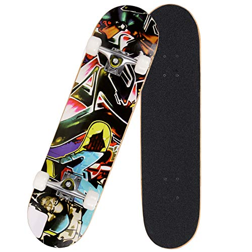Hosmat 31″ Complete Pro Skateboard 7 Layer Canadian Maple Wood Skateboard Deck with Double Kick Concave Design for Kids & Adults Beginner – Age 5 Up