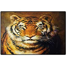 Tiger,Bath Mat,Oil Painting Style Big Cat Purposeful Eyes Carnivore Bengal Feline of East,Customize Door Mats for Home Mat,Black Pale Brown 32