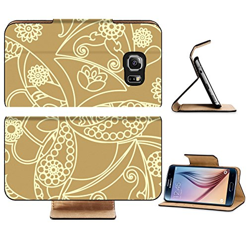 Luxlady Premium Samsung Galaxy S6 Edge Flip Pu Leather Wallet Case IMAGE 28247631 floral pattern in vintage style
