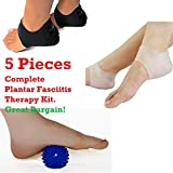 Plantar Fasciitis 5 Piece Therapy Kit - Inserts, Arch Support, Massage Ball, Sleeve Splint Treatment