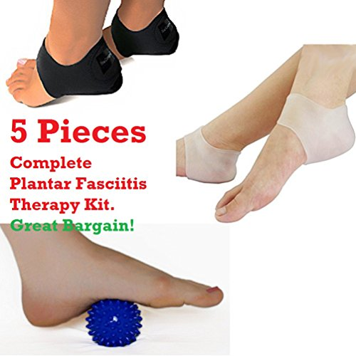 Plantar Fasciitis 5 Piece Therapy Kit - Inserts, Arch Support, Massage Ball, Sleeve Splint Treatment by Unknown