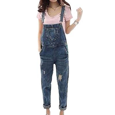 2019 nuevos Pantalones de Babero de Mezclilla Floja de la Primavera y el Verano de Las Mujeres Pantalones de Cintura Alta Mono Ocasional: Ropa y accesorios