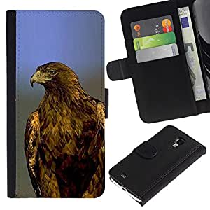 KingStore / Leather Etui en cuir / Samsung Galaxy S4 Mini i9190 / Plumes bleues chauves Majestic