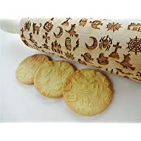 HALLOWEEN COMPANY embossing rolling pin for Halloween cookies Moon Owl Spider Ghost Pumpkin Witch Cross