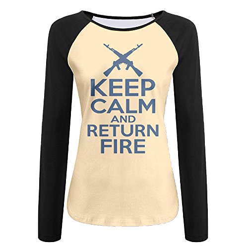 Price comparison product image Women's Keep Calm & Return Fire T-Shirt, Long Sleeve Tee For Woman
