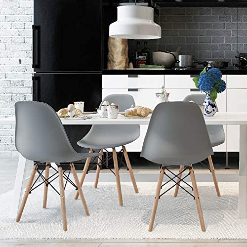 Yaheetech Dining Chairs DSW Chairs with Beech Wood Legs and Metal Wires Mid-century Soft for Dining Room Living Room Restaurant Home Kitchen 4PCS, Gray