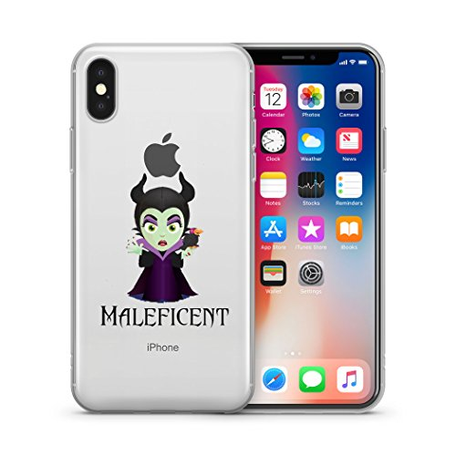 Disney Villains Evil Witch, Ursula, Maleficent Jelly Clear Case for Apple iPhone X (iPhone 10) (Maleficent)]()