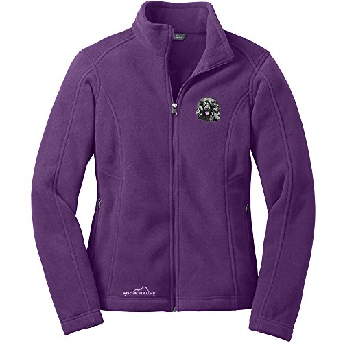 Cherrybrook Dog Breed Embroidered Ladies Eddie Bauer Fleece Jacket - X-Large - BlackBerry - Portuguese Water Dog