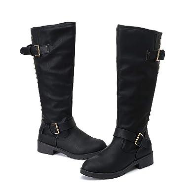 2fad621d41d Women Ladies Shoes Rivet Roman Riding Knee High Cowboy Boots Martin Long  Boots Shoes