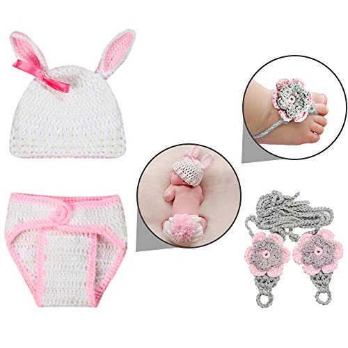Infant Baby Girls and Boys Photography Poop Outfits with Barefoot Knit Sandal; Newborn Knit Hat Costume Set (Toddler Bumble Cap Bee)