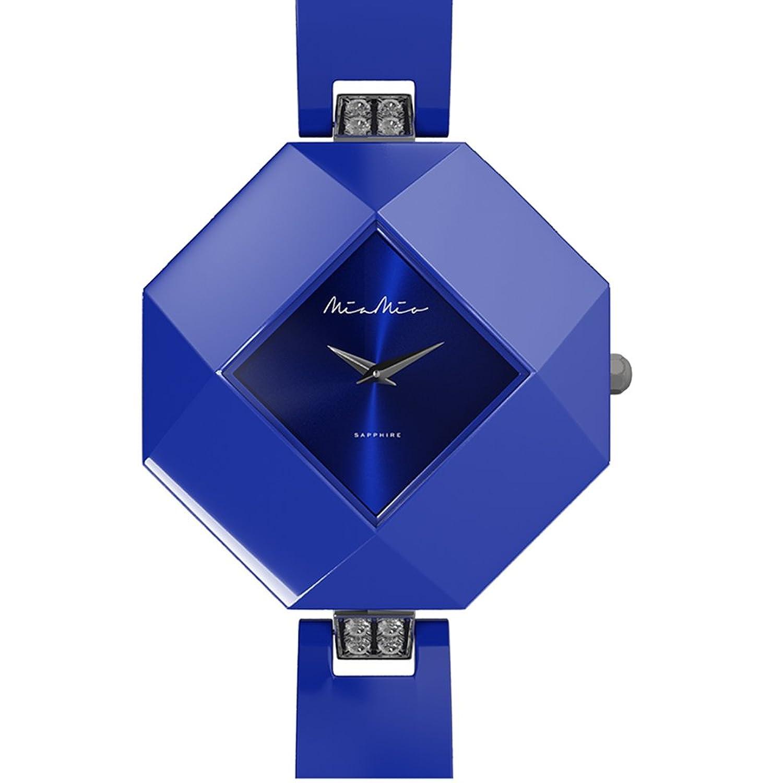 Mia-Mio Keramik Blau Swiss Quartz Edelstahl Saphir Kristall PRECIOSA Damen Uhr