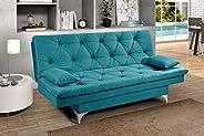 Sofa Cama Austria 3 Posições Reclinavel Essencial Estofados Azul Turquesa
