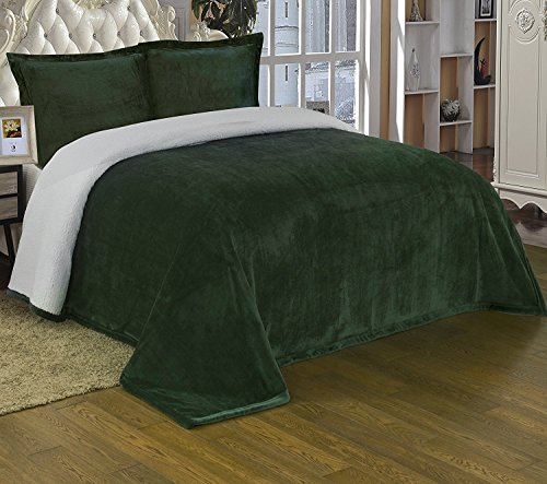Chezmoi Collection Micromink Sherpa Reversible Throw Blanket (King, Hunter Green)