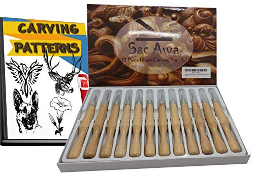 Sac Awa Wood Carving Tools Set. SK7 Carbon Steel Ergonomic 12 Piece Carving Tool Kit. Includes 1000+ Downloadable Carving Patterns. (Best Quality Wood Carving Tools)