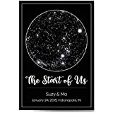 Custom Personalized Star Constellation Map, Star Chart, Choose Your Font, Custom Engagement Anniversary Birthday Baby Present, Cool Gift Idea, Night Sky Poster