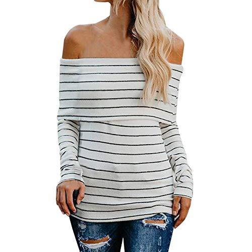 Clearance Casual Limsea Women T Shirt Cotton Stripe Off Shoulder Long Sleeve(White,Small) -