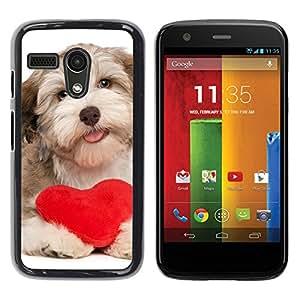 YiPhone /// Prima de resorte delgada de la cubierta del caso de Shell Armor - Havanese Heart Valentines Love Dog Puppy - Motorola Moto G 1 1ST Gen I X1032