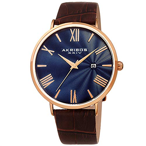 Akribos XXIV Men's Watch – Crocodile Embossed Genuine Leather Brown Band – Classic Round Case, Roman Numeral Markers, Guilloche Dial - AK1041RGBU (Roman Dial Brown)