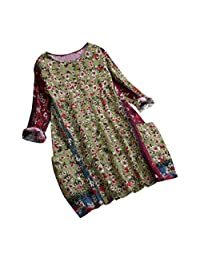 Clearance! Womens Vintage Linen Floral Print Blouse, Casual Loose Long Sleeve Tunic Top Pockets Plus Size M-5XL