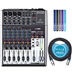 Behringer XENYX 1204USB Premium 12 Input 2/2 Bus Mixer Bundle with Blucoil Audio 10-Ft Balanced XLR Cable and 5-Pack of Cable Ties