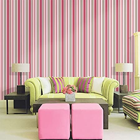 LEVINGER 3D Stripe Design Non Woven Removable Textured Wallpaper for ...