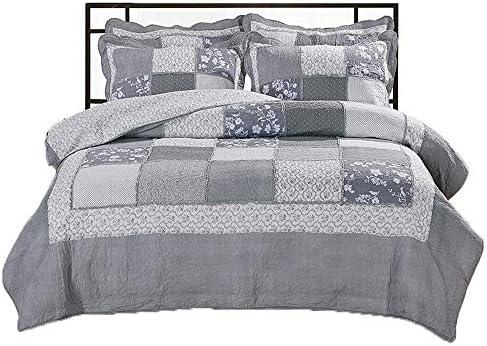 寝具カバーセット エクストラソフト格子縞-ギンガム4ピースプリントシートセットの通気性リンクルフェード耐汚染性の低刺激性 ベッドの裏地 (Color : Gray, Size : Free size)