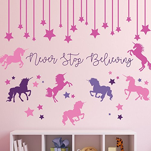 Infant Mural (Unicorn Stickers for Kids Room - Never Stop Believing Magical Themed Wall Decor - Vinyl Mural for Girls or Boys Bedroom, Baby Nursery, or Playroom)