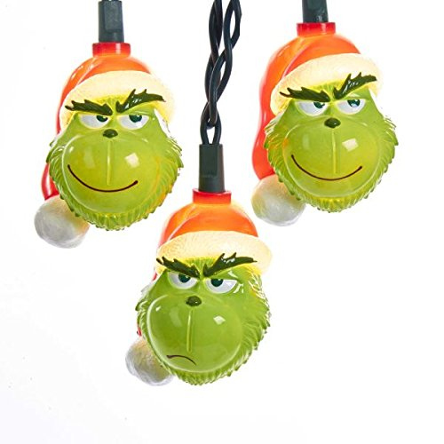 Kurt Adler 10 Piece The Grinch Light Set Standard (Decorations Christmas Grinch Tree)