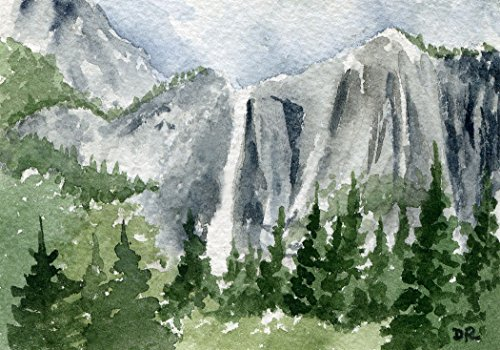 Yosemite Falls Watercolor Art Print by Artist DJ