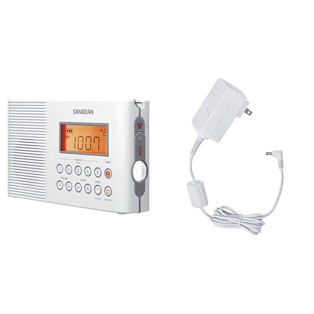 Sangean H201 Portable AM/FM/Weather Alert Digital Tuning Waterproof Shower Radio & ADP-H202 Switching Power AC Adapter for Models H201, H202, H205 and H200
