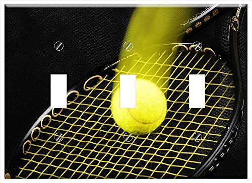 Switch Plate Triple Toggle - Tennis Racket Ball Tennis-Ball Background