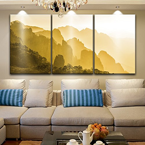 3 Panel Landscape of Mountains in Yellow Tone x 3 Panels